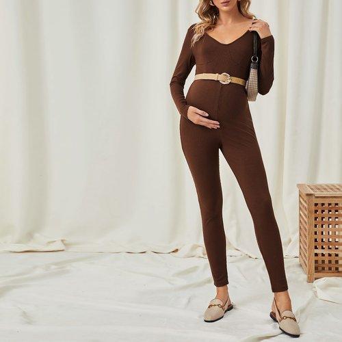 Combinaison de grossesse en tricot côtelé unicolore - SHEIN - Modalova