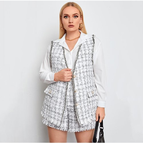 Manteau sans manches effiloché à carreaux en tweed & short - SHEIN - Modalova