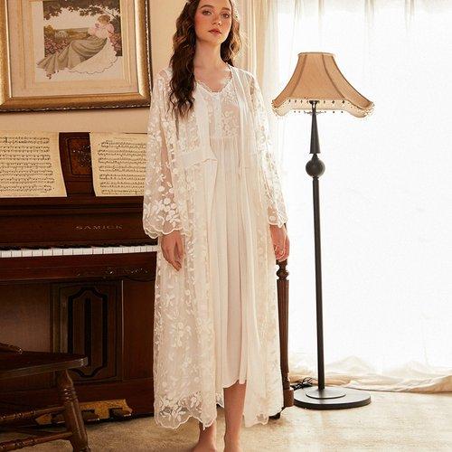 Robe de nuit avec broderies & Robe de chambre avec nœud - SHEIN - Modalova