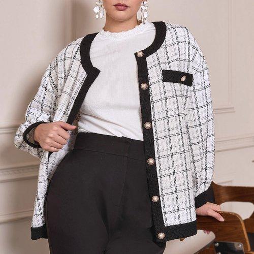 Manteau en tweed à carreaux - SHEIN - Modalova