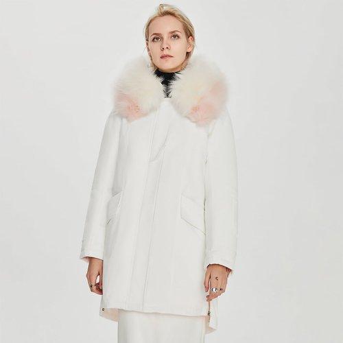 Doudoune à capuche avec fourrure synthétique - SHEIN - Modalova