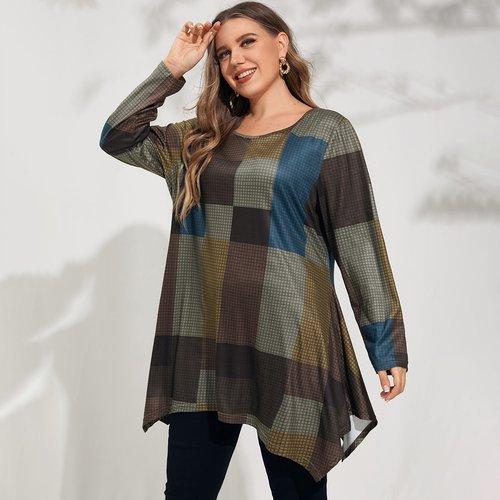 T-shirt tunique asymétrique à carreaux - SHEIN - Modalova