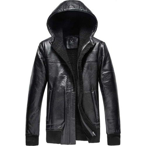 Veste à capuche en cuir PU avec zip - SHEIN - Modalova