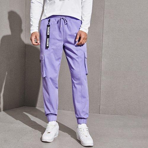 Pantalon cargo à imprimé lettres avec poche - SHEIN - Modalova