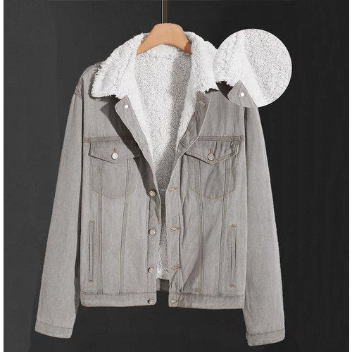 Veste en jean avec doublure duveteux - SHEIN - Modalova