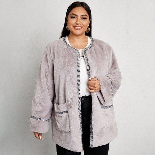 Manteau en fourrure synthétique avec tweed - SHEIN - Modalova