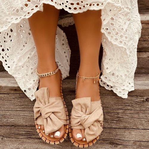 Sandales espadrilles en suédine avec nœud papillon - SHEIN - Modalova