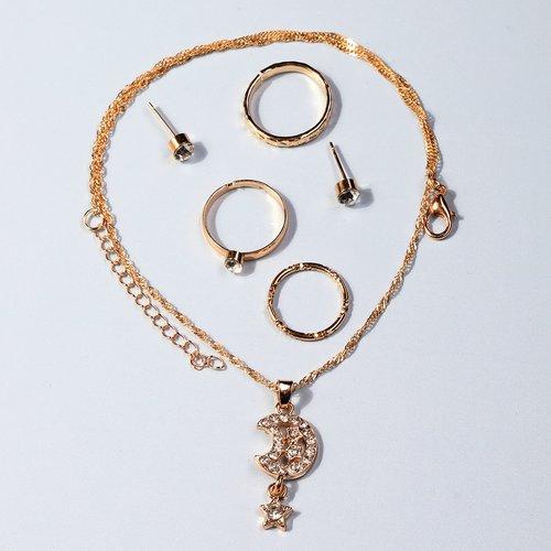 Collier avec strass & Boucles d'oreilles & 3 pièces Bague - SHEIN - Modalova