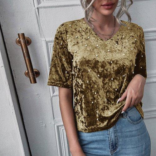 T-shirt en velours avec perles - SHEIN - Modalova