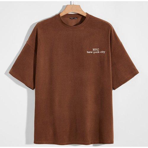 T-shirt en velours côtelé avec broderies - SHEIN - Modalova