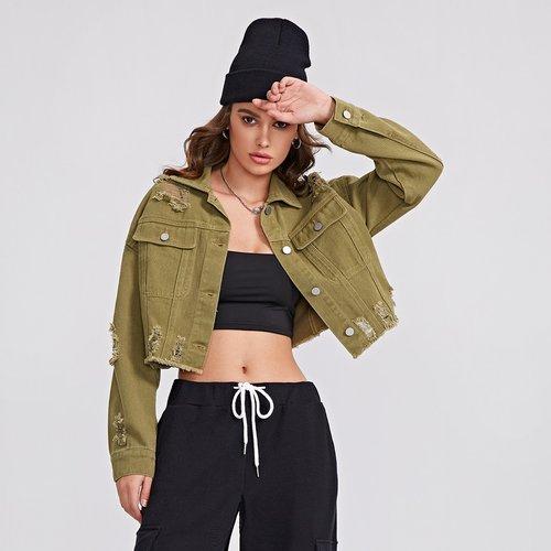 Veste en jean courte déchirée effilochée - SHEIN - Modalova