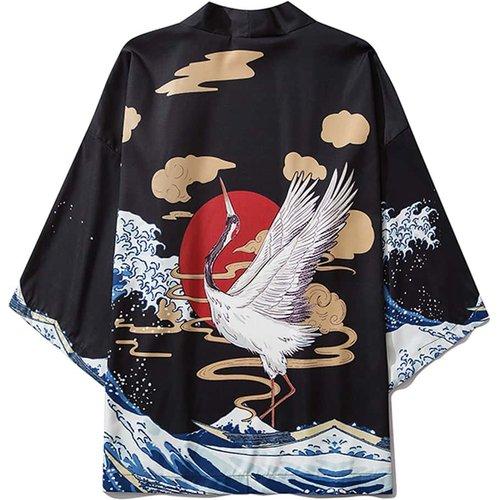 Kimono avec imprimé grue - SHEIN - Modalova