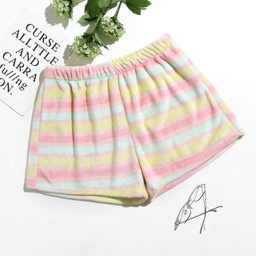 Short de pyjama rayé en flanelle - SHEIN - Modalova