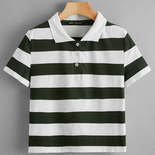 T-shirt bicolore avec col polo - SHEIN - Modalova