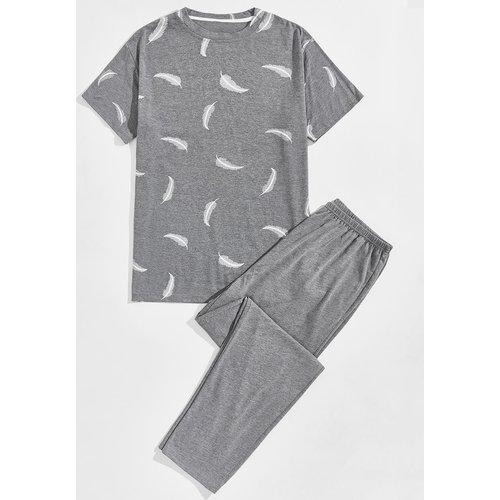 Ensemble de pyjama avec imprimé plume - SHEIN - Modalova