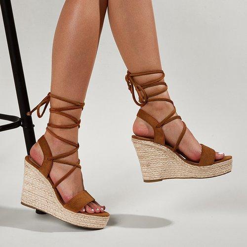 Sandales compensées espadrilles avec brides croisées - SHEIN - Modalova