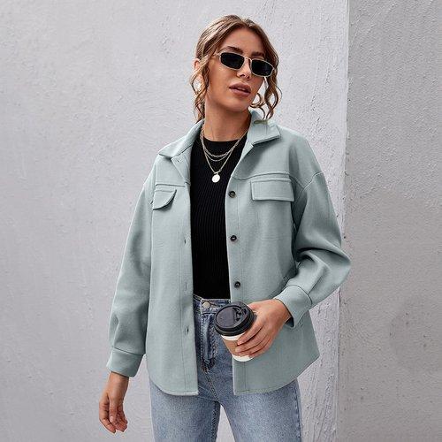 Manteau boutonné à rabat - SHEIN - Modalova