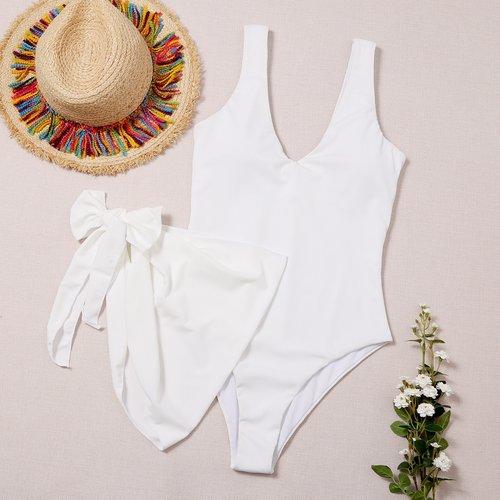 Maillot de bain une pièce côtelé & Jupe cache-maillot - SHEIN - Modalova