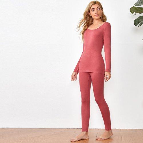 Ensemble legging sous-vêtement et top moulant - SHEIN - Modalova