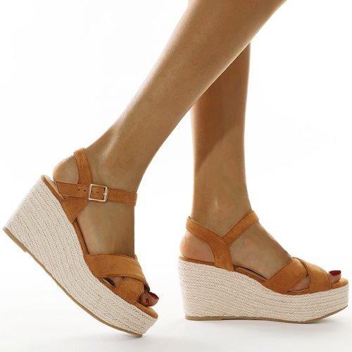 Sandales compensées espadrilles en suédine - SHEIN - Modalova