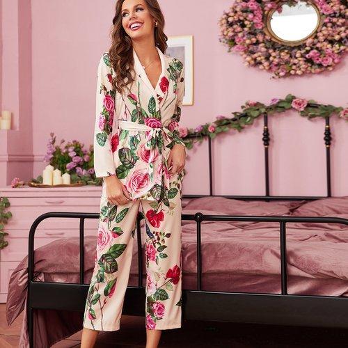 Ensemble de pyjama robe de chambre ceinturée fleurie & pantalon - SHEIN - Modalova