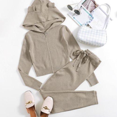 Gilet à capuche avec zip & Pantalon en maille - SHEIN - Modalova