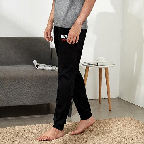 Pantalon de survêtement de pyjama avec motif lettre - SHEIN - Modalova