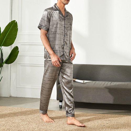 Ensemble de pyjama en satin avec motif lettre - SHEIN - Modalova