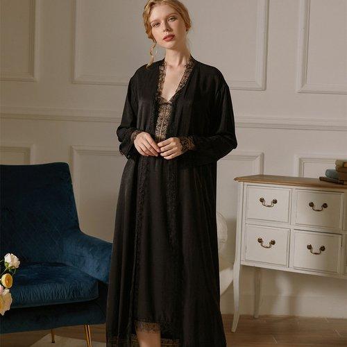 Robe de nuit avec dentelle & Robe de chambre ceinturée - SHEIN - Modalova