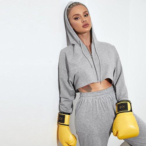 Veste de sport courte à capuche zippée - SHEIN - Modalova