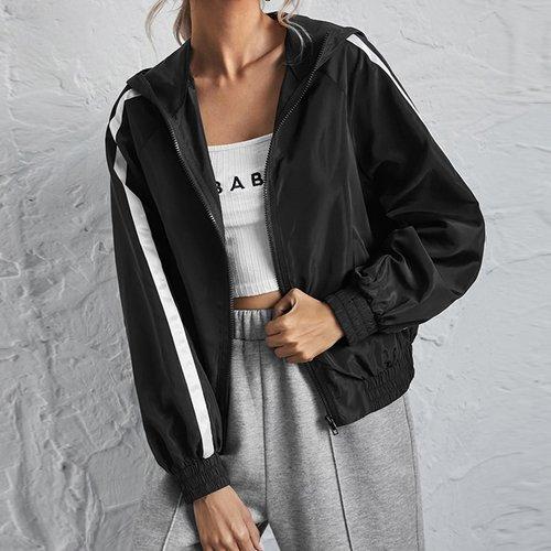 Veste à capuche coupe-vent bicolore - SHEIN - Modalova