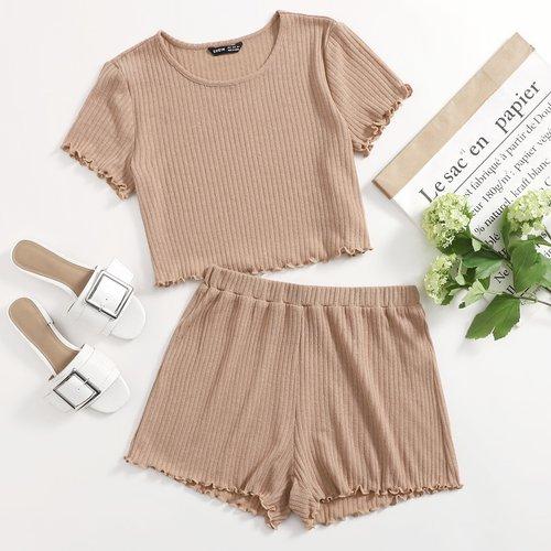 T-shirt côtelé avec ourlet ondulé & Short - SHEIN - Modalova