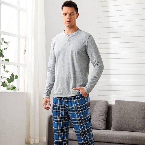 Ensemble de pyjama top avec boutons & pantalon à carreaux - SHEIN - Modalova