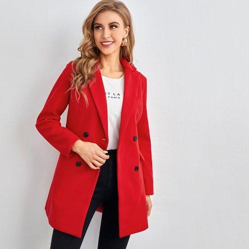 Manteau unicolore avec boutons - SHEIN - Modalova