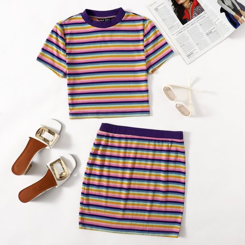 T-shirt court rayé & Jupe - SHEIN - Modalova