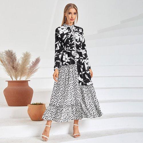 Robe chemise 2 en 1 fleurie - SHEIN - Modalova