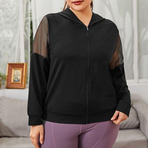 Veste à capuche zippée résille - SHEIN - Modalova