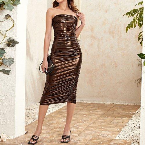 Robe bustier moulante effet cuir - SHEIN - Modalova