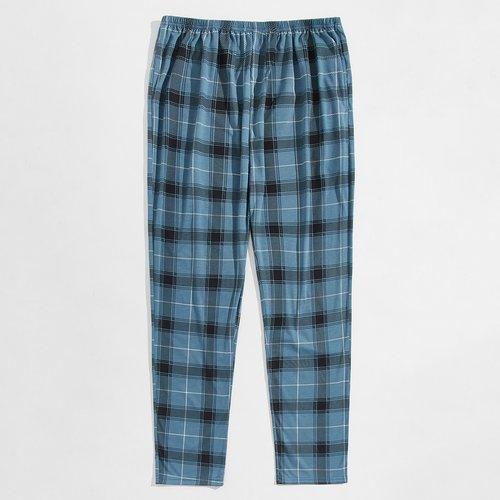 Pantalon de pyjama à carreaux avec taille élastique - SHEIN - Modalova