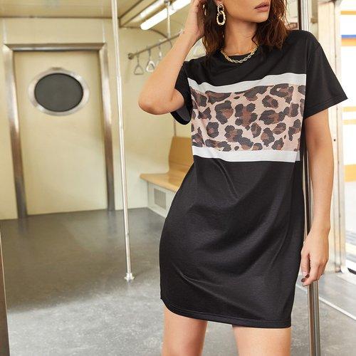 Robe t-shirt léopard - SHEIN - Modalova