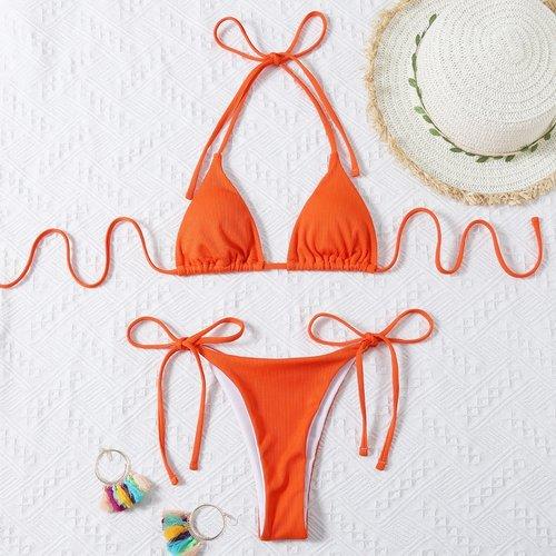 Bikini côtelé avec nœud - SHEIN - Modalova