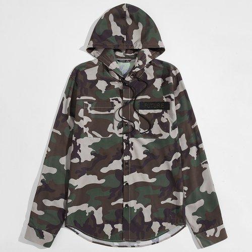 Veste à capuche avec motif camouflage et cordon - SHEIN - Modalova