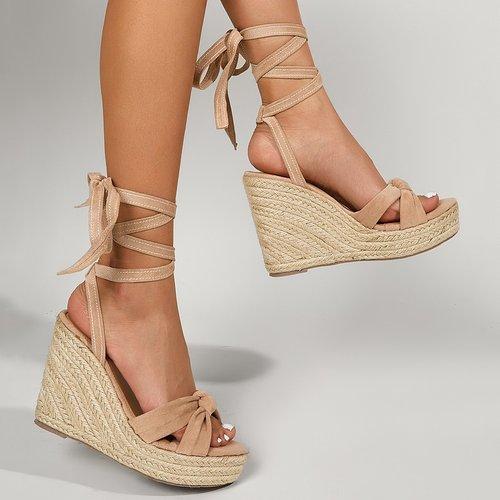 Sandales compensées espadrilles avec nœud - SHEIN - Modalova