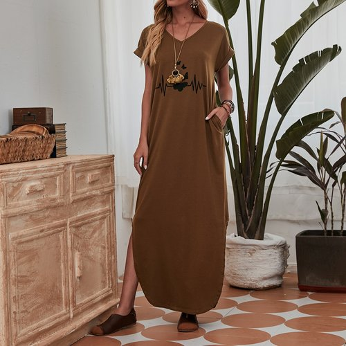 Robe t-shirt avec imprimé papillon - SHEIN - Modalova
