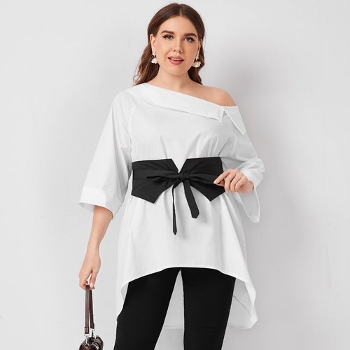 Top asymétrique avec corset - SHEIN - Modalova