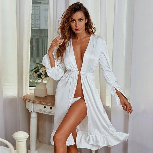Robe de chambre de nuit en satin à volants - SHEIN - Modalova