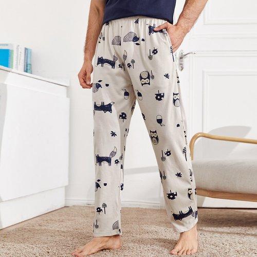 Pantalon de pyjama avec imprimé dessin animé - SHEIN - Modalova