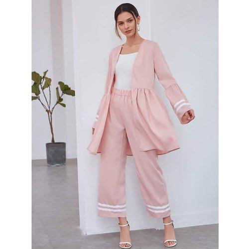 Pièces Manteau avec rayures & Pantalon ample - SHEIN - Modalova