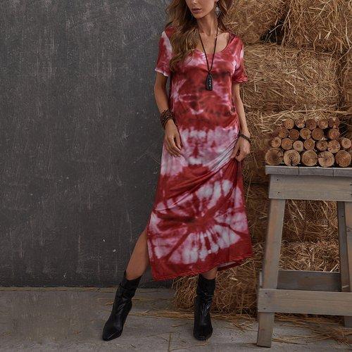 Robe t-shirt fendue tie dye - SHEIN - Modalova