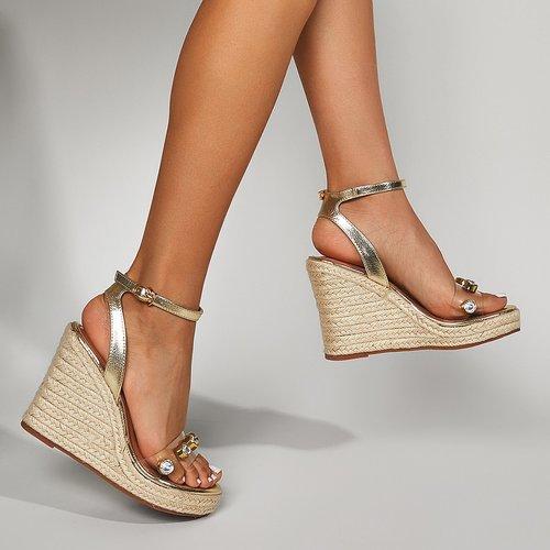 Sandales compensées espadrilles avec strass - SHEIN - Modalova